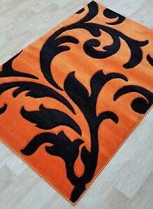 Details About Orange Black Modern Rug 12mm Pile Thick Carved Soft Free Postage Small Large 3d