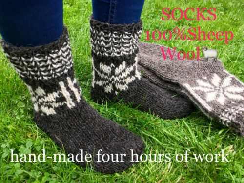 Cozy /& Calzini di lana fatto a mano calda lana di pecora spessa DA PASSEGGIO MISURA 16-17