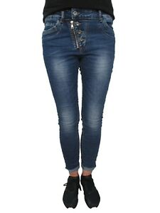 Details about Karostar Baggy Boyfriend Ladies Stretch Jeans Pants Button Row Front Zip Big