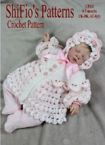 ad1613c3646 Image is loading CROCHET-PATTERN-for-BABY-JACKET-amp-HAT-111-