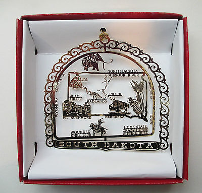 South Dakota Ornament Brass State Landmarks Travel Souvenir Keepsake Gift