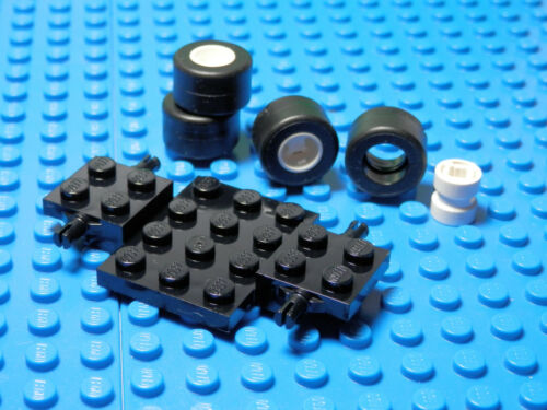 Lego Legos  NEW BLACK  Vehicle Base  with White Mag Wheels and Black Tires
