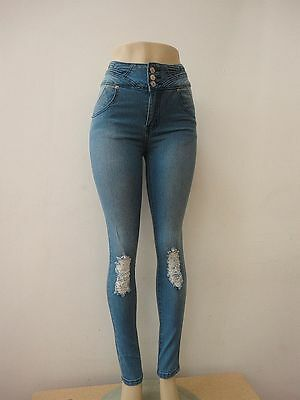 Stretch Distressed Baby Blue Women Junior Size Waist Skinny Denim Jeans Pants
