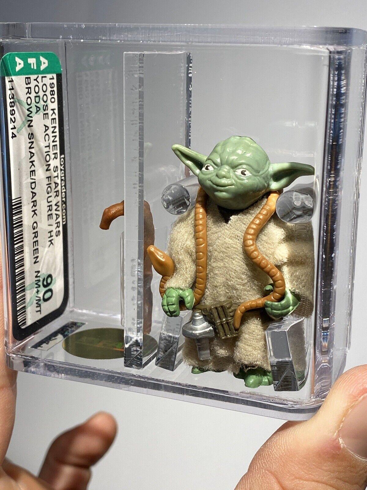 AFA 90 Kenner 1980 Star Wars Loose HK Yoda Dark Grün braun Snake Mint New Case