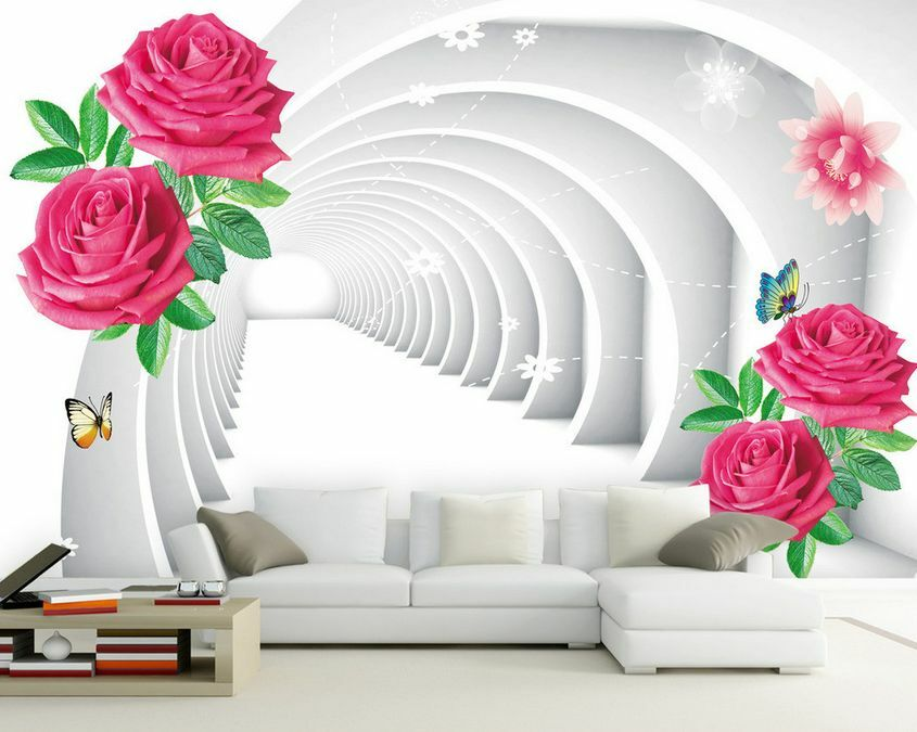 3D Mega Red Flowers And Arches451 Wall Paper Wall Print Decal Wall AJ Wall Paper