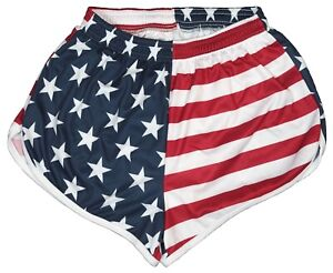 US-Flag-Ranger-Panties-Silkies-Running-Track-Shorts-by-Soffe-Men-039-s-Large