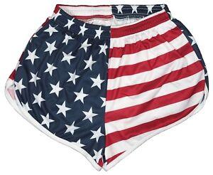 US-Flag-Ranger-Panties-Silkies-Running-Track-Shorts-by-Soffe-Men-039-s-Medium