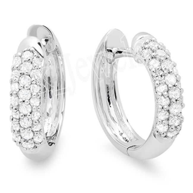 2.20ctw ROUND DIAMOND 14K WHITE gold WEDDING ANNIVERSARY HOOPS EARRING