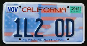 CALIFORNIA-NEVER-FORGET-9-11-1L2-OD-CA-Specialty-Vanity-License-Plate