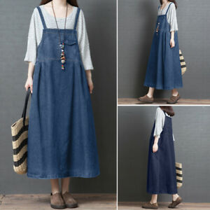 ZANZEA-Women-Strappy-Casual-Denim-Blue-Summer-Tank-Dress-Suspender-Shirt-Dress