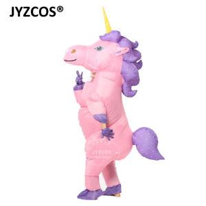 Inflatable Unicorn Costume Kid Adult Women Men Blowup Party Halloween Fancy Suit