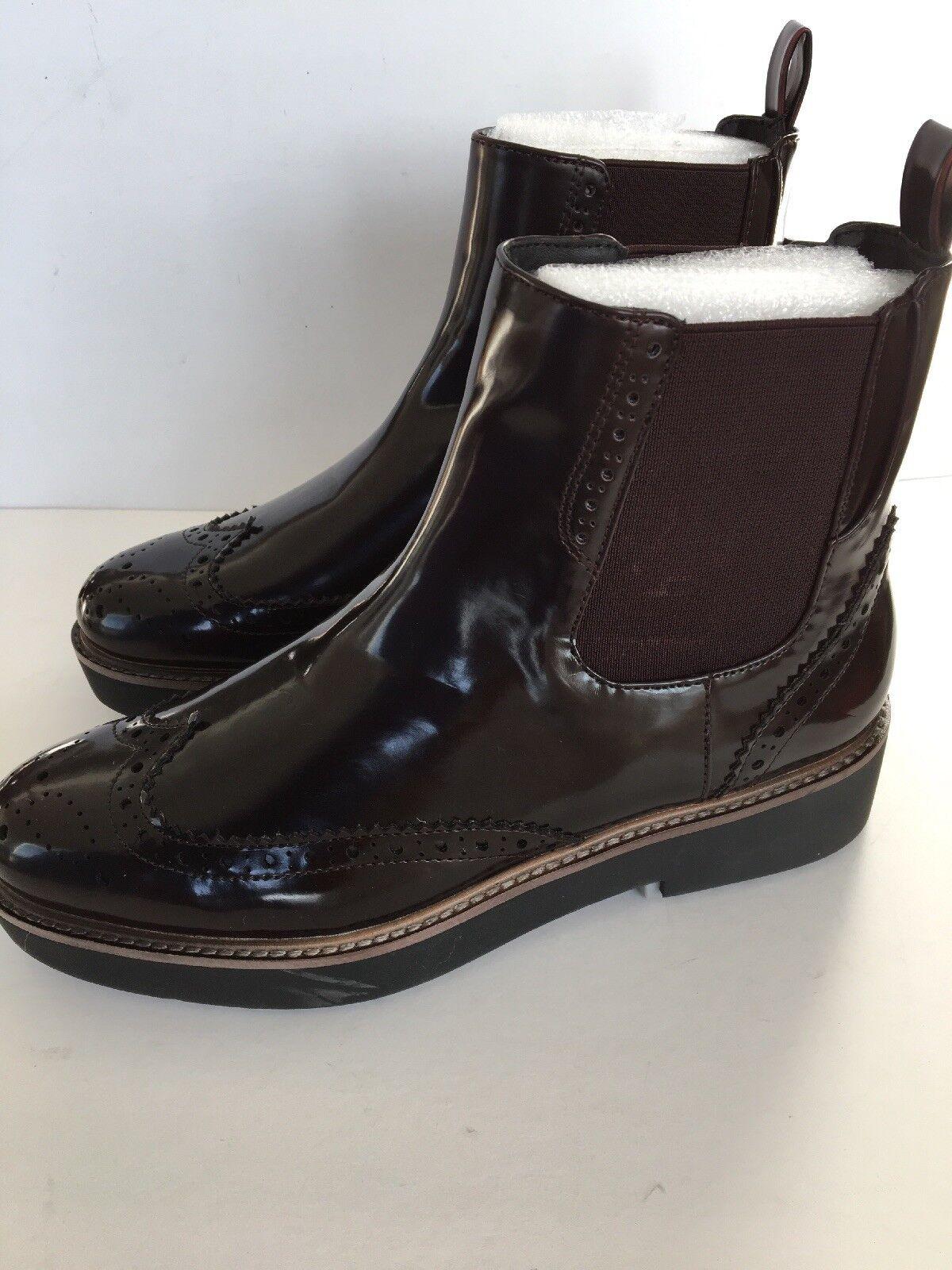Zara Shiny marrón Pull On Ankle Chelsea botas NWT Talla 7.5 UK 5