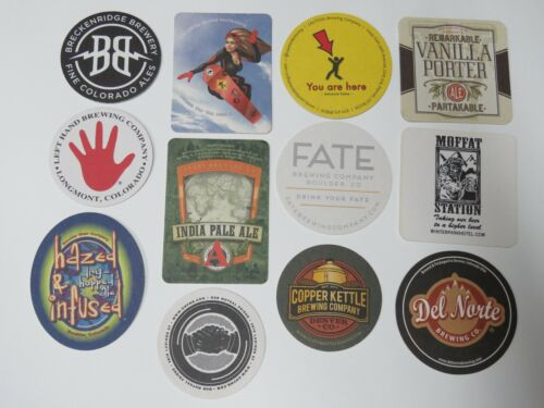 12 Beer Coasters Moffat Station,Avery,Breckenridge,Caution,Fate,Left Hand,Ram +