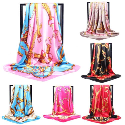 Women Printed Satin-Silk Square Scarf Wrap Shawl Beach Scarves Stole 90*90cm