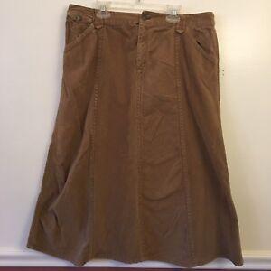 7c4946f80a Eddie Bauer Womens Petite 12 Skirt Solid Beige Tan Corduroy Long ...