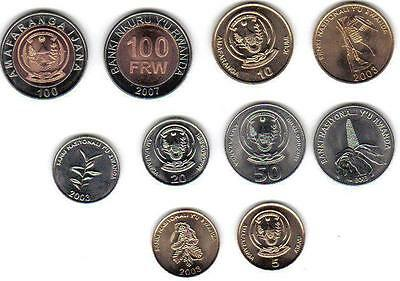 RWANDA: 6-PIECE UNCIRCULATED CURRENT COIN SET, 1 - 100 FRANCS