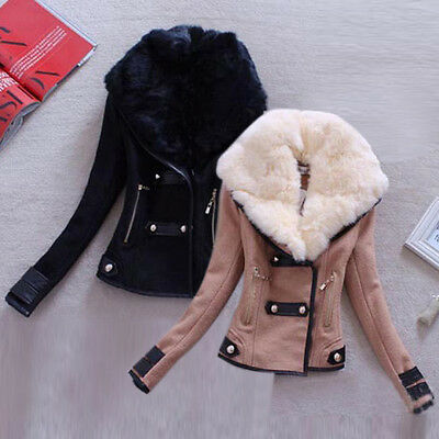 Fashion Womens Slim Fit Fur Collar Coat Short Jacket Winter Warm Tops Outerwear