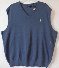 Polo Ralph Lauren Big and Tall Mens Shale Blue Pima Cotton Sweater Vest NWT LT