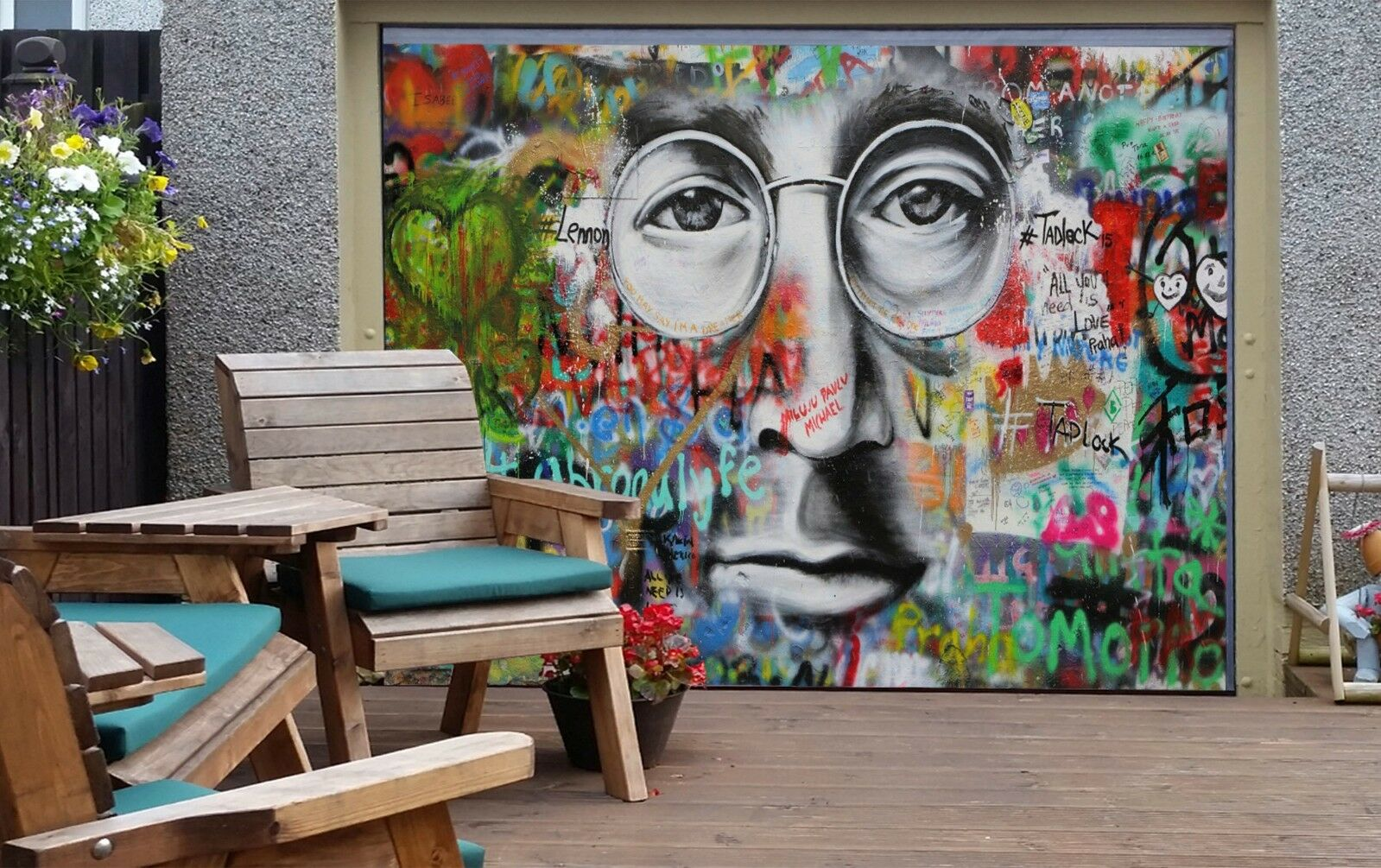 3D Glasses Male Wall 45 Garage Door Murals Wall Print Wall AJ WALLPAPER UK Lemon