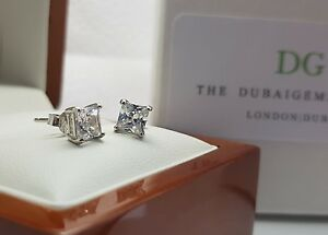 White-gold-finish-Princess-cut-created-diamond-5mm-stud-earrings-Brand-New