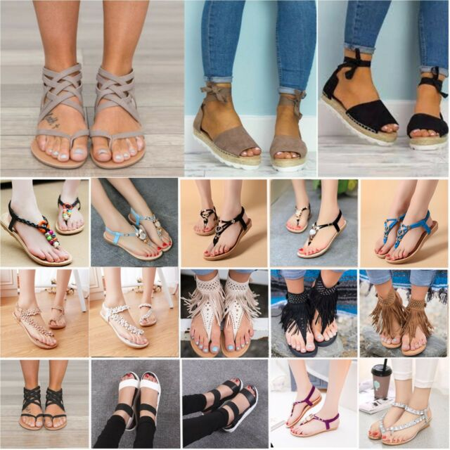 Womens Boho Beach Sandals Flip Flop Flats T-strap Thong Espadrilles Summer Shoes