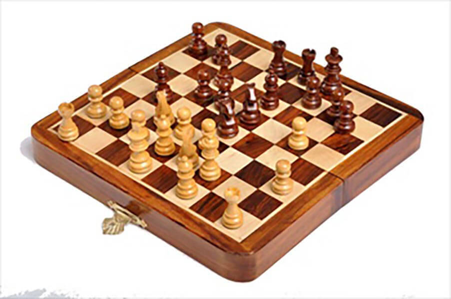 FOLDING WOODEN MAGNETIC Travel Chess Set - 7