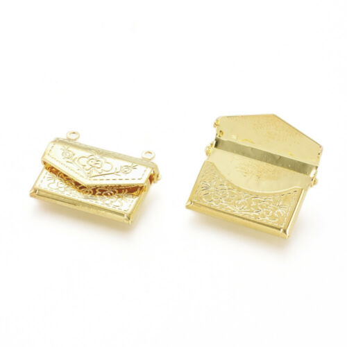 Envelope Locket Charm Connector Movable Realistic Letter Jewelry Gold Brass