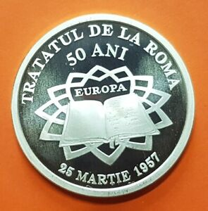 ROMANIA-10-LEI-2007-TREATY-OF-ROME-SILVER-COIN-1-Onza-proof-MINTAGE-500-Tratatul