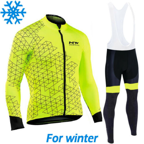 Winter Cycling Jersey Thermal Long Bib Bike Wool Shirt Primal Jacket Warm NW Set