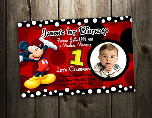 Image Is Loading MICKEY MOUSE BIRTHDAY INVITATION PARTY CARD PHOTO INVITES