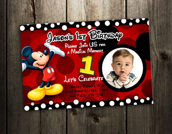 Mickey Mouse Birthday Invitation Party Card Photo Invites 1st N4 9 Designs