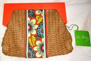 NWT-VERA-BRADLEY-034-Flower-Power-034-Orange-Straw-Clutch-Purse-w-Magnetic-Wood-Handle