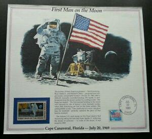 [SJ] USA First Man On The Moon 1988 Space Astronomy Flag (souvenir card) MNH