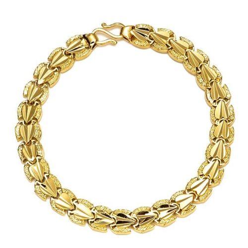 "Women/'s Bracelet 18K Yellow Gold Filled 7.3/"" Chain 7mm Link Fashion Jewelry"