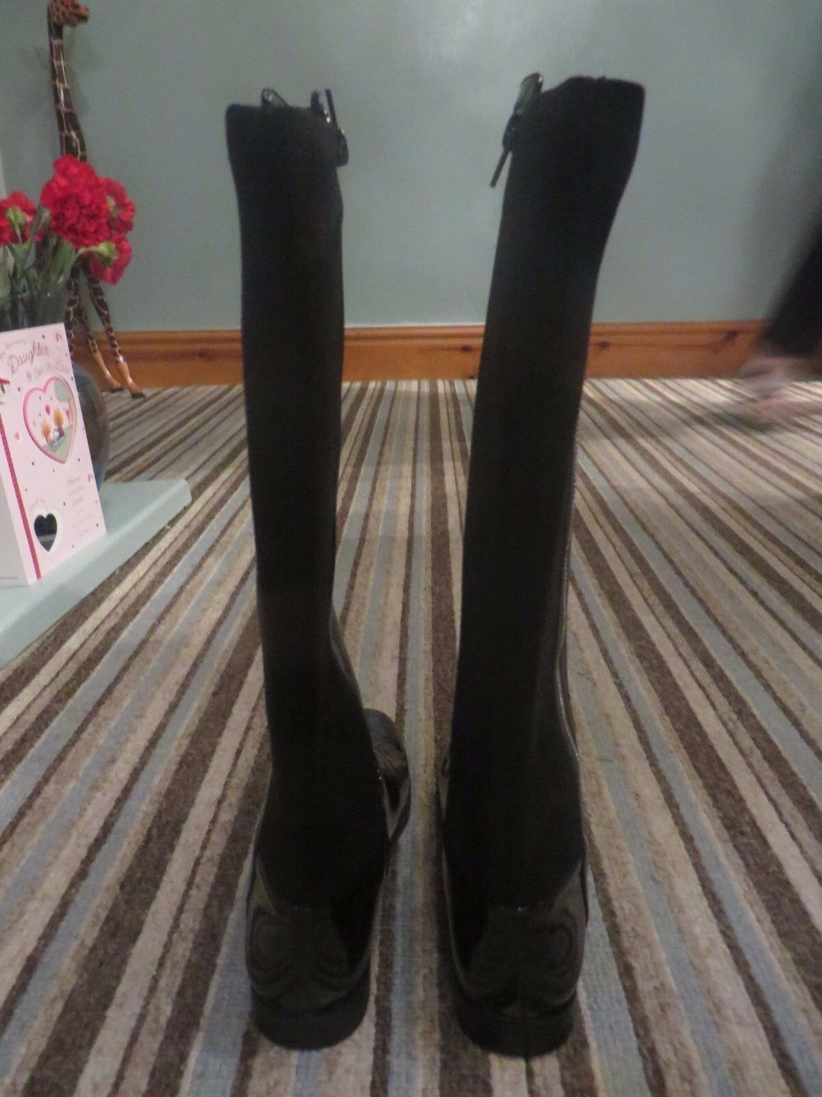 Ladies womens long boots black next next next size 5 patent and suede brand new zips up 4f3e20