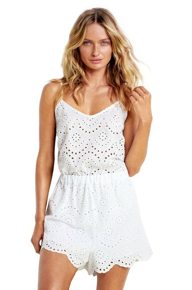 NWT SEAFOLLY BRODERIE WHITE EYELET PLAYSUIT ROMPER COVER XS XSMALL  140   SFS