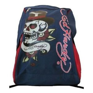 2ad99e028d2 Ed Hardy Skull Backpack   Day Bag   School Bag in Blue   Red  New ...