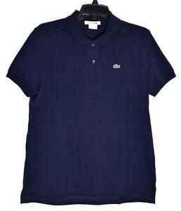 98b2d37c9c408 LACOSTE Women s Navy Blue Polo Shirt (Size 44 12) Short Sleeve 100 ...