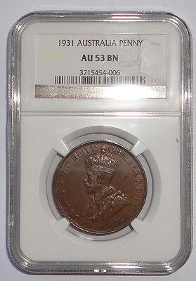 AUSTRALIA   COIN  1 PENNY 1931  NGC  AU 53  BN