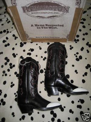 Nos Remington Texas USA Black Western White Tips Cowboy Boots Rockabilly 5.5
