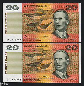 Australia-R-411-1989-20-Dollars-Phillips-Fraser-UNC-CONSECUTIVE-Pair