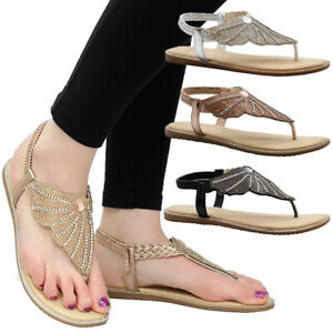 Womens-Flat-Diamante-Shoes-Party-Comfy-Open-Toe-Comfy-Ladies-Summer-Sandals-Size