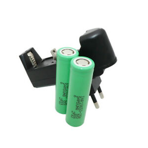 2X 18650 2500mAh 25R Batterie 3.7V Li-ion High Drain Rechargeable & EU Chargeur