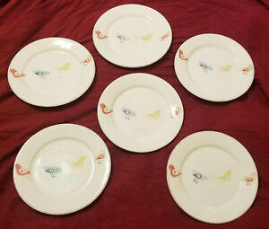 Set-of-6-Pier-1-LITTLE-BIRD-Salad-Dessert-Plates