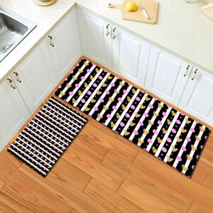 Black White Striped Hearts Pink Dots Area Rugs Kitchen Living Room Floor Mat Rug Ebay