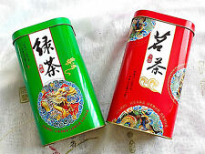 2 CHINESE RED GREEN DRAGON L STORAGE CANISTER TIN CADDY TEA BOX STORAGE PARTY A5