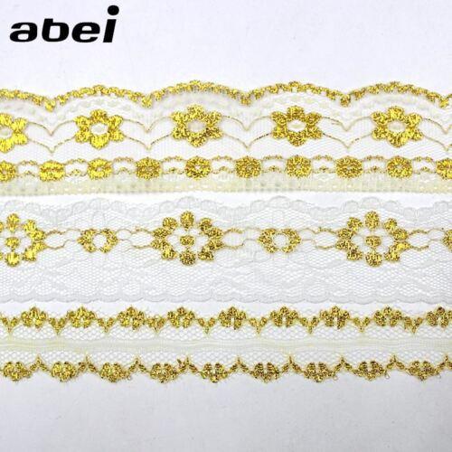 5 yardas//Lote delgada Bordado De Oro Tiras De Encaje Decoración de Boda Manualidades arco Regalos