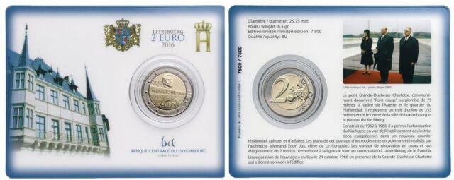 [CF4086a] Luxemburgo 2016, Coin Card 2€ Puente Gran Duquesa Carlota (BU)