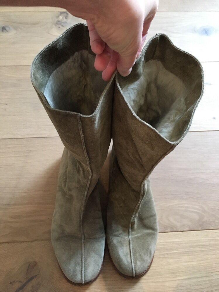 Jimmy Choo Planas Botas De Gamuza De Piel De Oveja Forrado de piel de conejo nos 8.5 9 Reino Unido 6 6.5