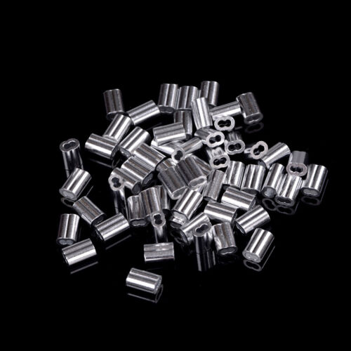 50pcs 1.5mm Cable Crimps Aluminum Sleeves Cable Wire Rope Clip Fitting Fad